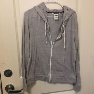 Grey PINK zip up hoodie
